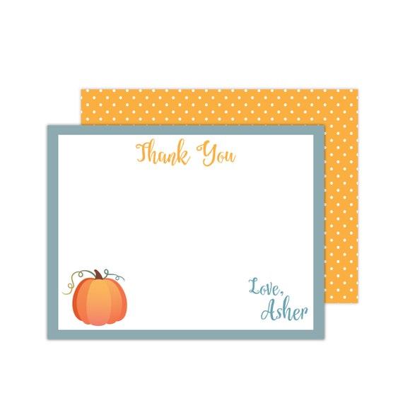 Personalized Pumpkin Note Cards Pumpkin Birthday Pumpkin Thank You