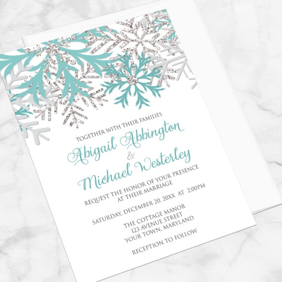 winter wedding invitations teal silver snowflakes on white