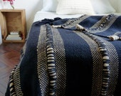 Loomed Throw blanket geometric texture, Chunky stripe design in quality pure virgin merino wool