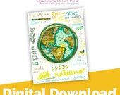 All Nations Digital Download Bible Journaling Printable, Bible Margin Stickers, Bible Stickers, Sticker Printable