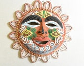 Vintage Mexican Folk Art Hand Painted Clay Sun Garden Accent Wall Hanging Colorful