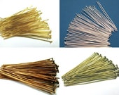 100 Riveting Pins 50 mm choice of gold Silver copper Bronze Jewellery accessories #S322