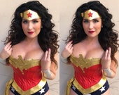 COSTUME Wonder Superhero w/Navy and 3 White Stars AND Double Pointed Tiara