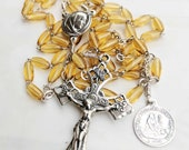 Rosary - French Yellow Glass Ste Marie Madeleine - Sterling Silver
