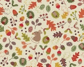 Woodland Mouse on Cream, Autumn in Bluebell Wood, Fabric by Lewis & Irene, Quilting Cotton, Mice Leaves and Acorns, Fall Colors, 248.1