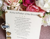 Mother and Father of the Groom Wedding gift, Groom's parents thank you wedding gift, Mother of the Groom gift, Father of the Groom gift,