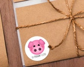 "Funny Animal Stickers - 1.625 x 1.625"" Circles 24 Per Sheet - So Piggin' Cute Barnyard Animals Pig Pigs Pink Piglet Adorable Baby Shower"