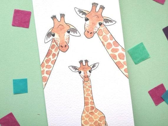 New baby card, giraffe baby, gender neutral, boy or girl expecting card.