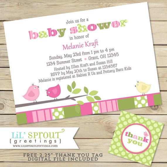 Bird girl baby shower invitation pink green shabby chic by lil il570xn m4hsunfo