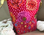Kaffe Fassett Fabric Project Bag, Knitting Pouch, Crochet Tote, Yarn Sack