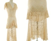1930s Vintage Dress- Sheer Champagne Lustrous Lace 30s Bridal Gown with Ruffled Tier and Sleeve