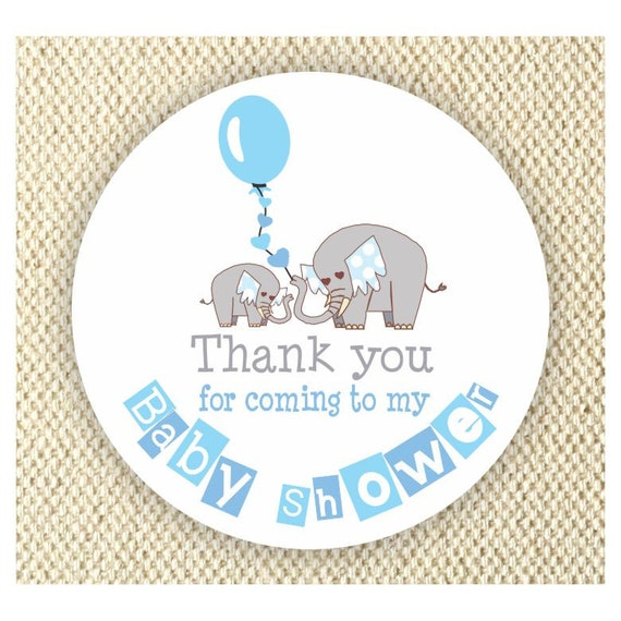 Elephant Baby Shower Thank You Stickers Boys Baby Shower Labels