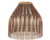 Vintage Franco Albino Style Bamboo Rattan Lamp Shade Brown MCM Slatted Tiki Boho - RESERVED