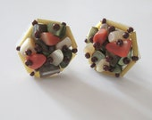 Vintage Mother of Pearl Bead Cluster Earrings, Mid Century Clip On Earrings in Earth Tones