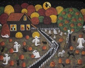 RESERVED FOR Angelica - Halloween Folk Art Hand Painted Tray, Haunted House with Witches, Ghosts, Skeleton, Black Cats, Pumpkin Tree, Dog