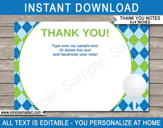 golf party thank you notes golf theme printable thank you cards