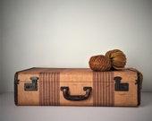 Vintage Suitcase, Striped Tweed Suitcase, Vintage Luggage, Storage Organization, Photo Movie Prop, Vintage Travel Decor, Retro Suitcase