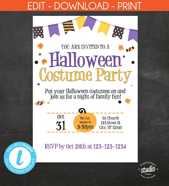 Halloween costume party invitation halloween invite halloween il570xn solutioingenieria Choice Image
