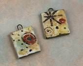 2 Handmade ceramic art charms earrings/charms dangles glaze painterly decal
