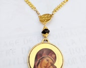 Necklace - ICON Mary and Jesus - Geuine Garnet + 18.5 Inch 18K Gold Plated Parisian Chain
