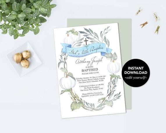 Baptism Invitation Boy Invitation Download Fall White Pumpkin Boy