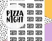 Pizza Night Planner Stickers - Script Planner Stickers - Lettering Planner Stickers - Typography Stickers - Pizza Planner Stickers - 1873