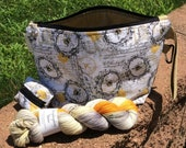 Buzzing Around Project Bag Set - honey gold and grey