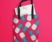 Borsa grande - Borsa in tessuto - Shopping bag 38x38 cm, grafica ananas personalizzabile