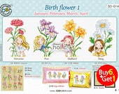 SO-G143 Birth flower 1 -January,February,March,April,  sodastitch cross stitch chart
