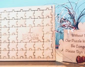 Wedding Puzzle guest book ,Custom Wedding guest book wood,Jigsaw guestbook,Guest book Alternative,Personalized puzzle,Wedding