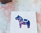 Dala horse rubber stamp//hand carved rubber stamp