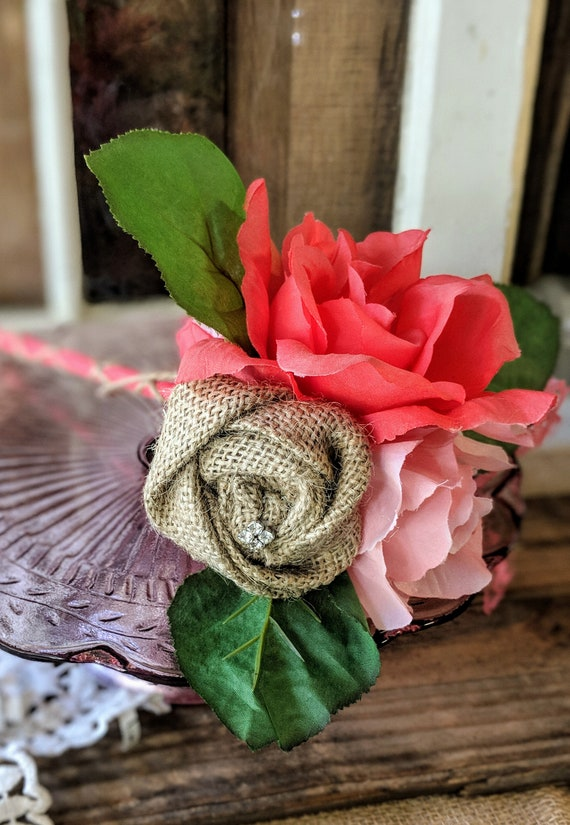 Flower Girl Wand, Burlap Flower Girl Wand, Rustic Wedding, Flower ...