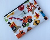 Construction Snack Bag - Lunch Bag - Plastic Free July - Zippered Snack Bag - Kids Lunch Bag - Snack Sack