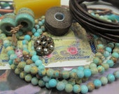 Reserved for Pam  Maui Three Wrap Leather Bracelet in 4mm Round Aqua Turquoise Jasper and Brown Leather