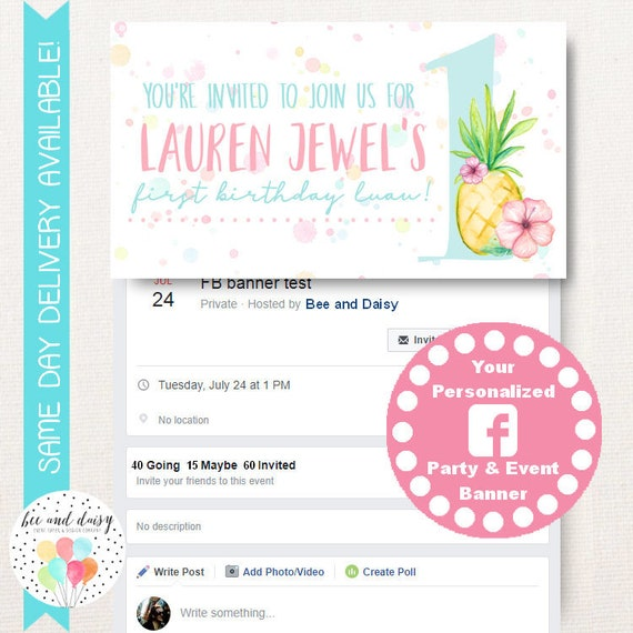 girls pineapple luau custom personalized event and party banner for