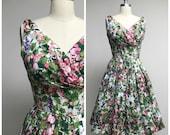 Vintage 1950s Dress • Strawberry Fields • Pink Purple Green Printed Cotton 50s Summer Dress Size Medium