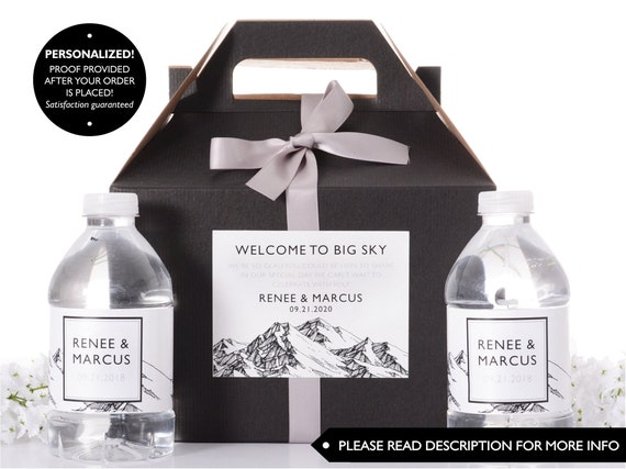 Hotel Wedding Box Wedding Welcome Boxes With Matching Water Labels
