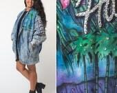Vintage ACID WASH jacket 80s Hawaii rhinestone airbrushed BEDAZZLED jean denim plus size large Tony Alamo inspired oversized Kawaii jacket