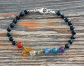 """7"""" Obsidian with Moon Rainbow Gemstone Bracelet Knotted on Nylon with Sterling Silver Findings, Healing Crystals, Infused with Intention"""