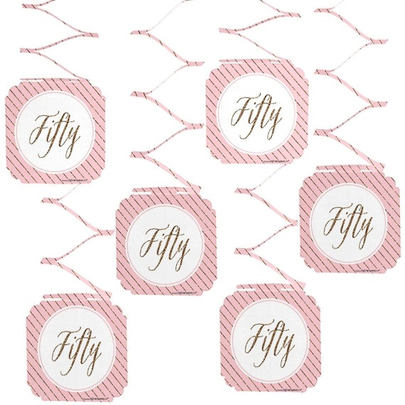 Set Of 6 Chic 50th Birthday Pink And Gold Hanging Decorations