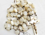 Rosary - Antique French Mother of Pearl Ste Marie Madeleine - Sterling Silver