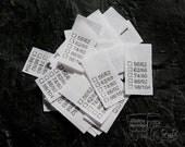 25 Textiletiketten Universal  Größe 56/62 - 98/104