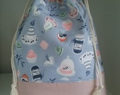 Party Cake tall drawstring project bag perfect for knitting socks, shawls or crocheting similar projects.