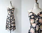 Camille dress | 1970s floral cotton dress | black floral halter dress