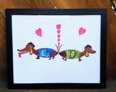 RESERVED for Cynthia - Framed Dachshund Illustration, Mid Century Modern Illustration, Colorful Dog Original Art, Animal Art Color Drawing