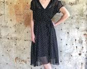 1980s Polka Dot Midi Faux Wrap Dress Medium Large
