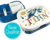 Lunchbox with separation, blue, rocket, lunchbox with Name, Vesperbox, Lunchbag, personalized breadbox, Vesperbox