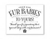Fur Babies Printable Wedding Sign, Pet Favors, Dog/Cat, Personalized with Names (FUR1B)
