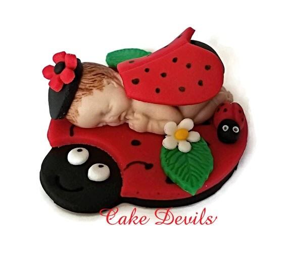 Ladybug Baby Shower Cake Topper Fondant Sleeping Baby Ladybug