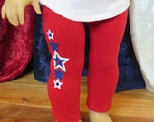 Newly Released! 18 Inch Doll Red Star Patriotic Leggings - Summer Doll Clothes - Modern Doll Clothes - American Made Girl Doll Clothes